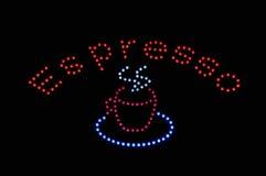 Espresso-Neonleuchte-Zeichen stockfotografie