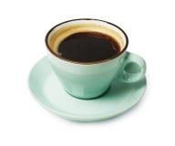 Espresso oder americano, schwarze Kaffeetasse oben auf weißem Hintergrund stockbild