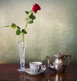 Espresso for one and red rose Royalty Free Stock Images