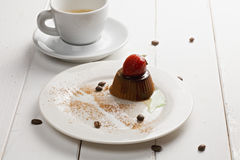 Espresso and panna cotta Royalty Free Stock Photos
