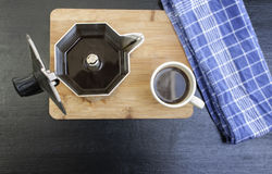 Espresso Pot on Wooden Board with Coffee Cup Stock Photos