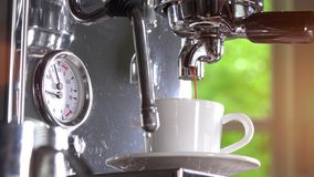 Espresso out of classic coffee machine into coffee cup stock video