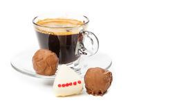 Espresso and pralines Stock Images