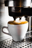 Espresso preparation. Gray coffee machine with white cup Royalty Free Stock Photography