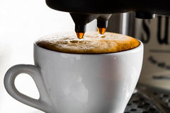 Espresso preparation. Gray coffee machine with white cup Stock Photo
