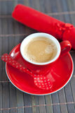 Espresso in a red cup Royalty Free Stock Photo