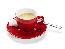 Espresso in red cup isolated on white Stock Photo