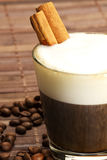Espresso in a short glass with milk froth and cinn Royalty Free Stock Photo