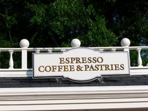 Espresso Sign. A photograph of a generic espresso coffee and pastries sign royalty free stock images
