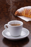 Espresso with smoked and croissant. Hot coffee with smoked and croissant stock images