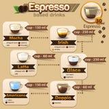 Espresso stellte 3 ein Lizenzfreies Stockfoto