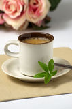 Espresso with stevia leaves. A cup of espresso with stevia leaves Stock Photography