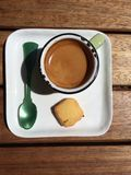 Espresso with. Top view of single espresso on wooden Stock Image