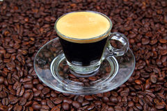 Espresso in a transparent cup Royalty Free Stock Image