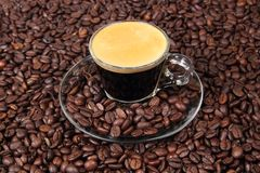 Espresso in a transparent cup Royalty Free Stock Photography