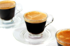 Espresso in transparent cups Royalty Free Stock Image