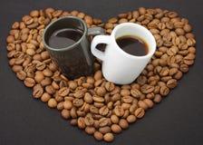 espresso två för bönalockkaffe Fotografering för Bildbyråer