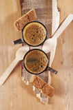 Espresso for two with spoons and Cantuccini Stock Photography
