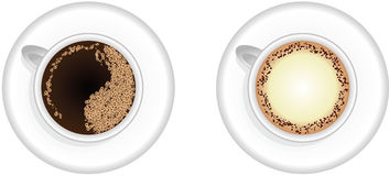 Espresso- und CappuccinoKaffeetassen Stockfotografie