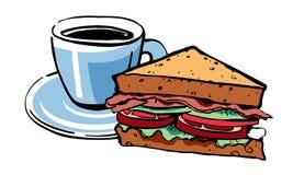Espresso-und französischer Toast Handgezogenes Entwurfsskizzen-Vektor illustrationt mit Farbfüllen stock abbildung