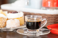 Espresso van het achtergrondnadruk zachte beeld uitstekende nadruk als achtergrond Brearley Royalty-vrije Stock Fotografie