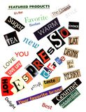 Espresso Word Collage Texture Royalty Free Stock Photography