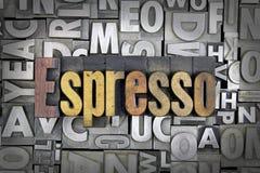 Espresso. Written in vintage letterpress type stock photo