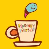 Espresso yourself. Coffee cup cartoon illustration Royalty Free Stock Images