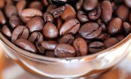 Espressobönor i en molar Slut som skjutas upp Makro Arkivfoton