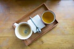 Espressokaffe i den vita koppen med kopieringsutrymme Royaltyfri Bild