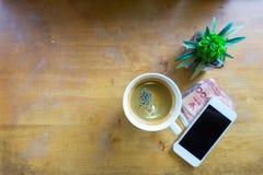 Espressokaffe i den vita koppen med kopieringsutrymme Fotografering för Bildbyråer