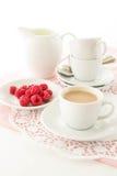 Espressokaffe med mjölkar Fotografering för Bildbyråer