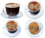 Espressokaffee in einem Glasteller, Isolat auf einem weißen Hintergrund, Lizenzfreie Stockbilder