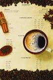 EspressoKaffeetasse auf Cafémenü Stockbild
