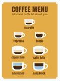 Espressokaffemeny Arkivbild