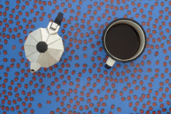 Espressopot, koffiekop en lieveheersbeestjes Stock Fotografie