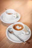 Espressos with a heart Stock Photos