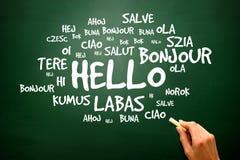 Esprima ciao nelle lingue differenti, fondo della presentazione fotografia stock
