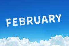 Esprima febbraio fatto del vapore delle nuvole sul fondo del cielo blu Pianificazione di mese, concetto dell'orario Immagini Stock Libere da Diritti