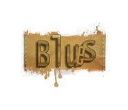 Esprima il ` dei blu del ` del fondo di cuoio della sgocciolatura e cucita Concetto di informazioni di musica Immagini Stock