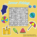 Esprima il puzzle per i bambini, gioco educativo di ricerca Tema di vacanze estive Fotografie Stock