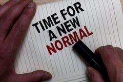 Esprima il tempo del testo di scrittura per un nuovo normale Il concetto di affari per Make un grande cambio spettacolare sostitu immagine stock