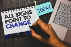 Esprima il testo che di scrittura tutti i segni indicano cambiamento Concetto di affari per la necessità di fare la presa diversa immagine stock