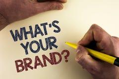Esprima il testo di scrittura che cosa è la vostra domanda di marca Il concetto di affari per il singolo marchio di fabbrica Defi immagini stock