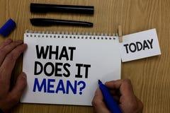 Esprima il testo di scrittura che cosa significa la domanda Concetto di affari per elasticità me il significato di qualcosa notep immagine stock libera da diritti