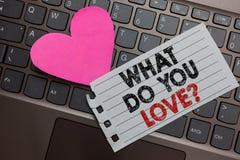 Esprima il testo di scrittura che cosa voi amano la domanda Concetto di affari per passione piacevole di cose per qualcosa comput immagine stock libera da diritti