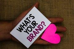 Esprima il testo di scrittura che s è la vostra domanda di marca Il concetto di affari per il singolo marchio di fabbrica Define  fotografia stock libera da diritti