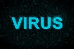Esprima il virus che emette luce su sullo schermo con fondo digitale blu Immagini Stock Libere da Diritti