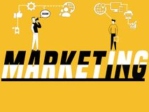 Esprima l'introduzione sul mercato e la gente di concetto che fanno le attività promozionali illustrazione vettoriale