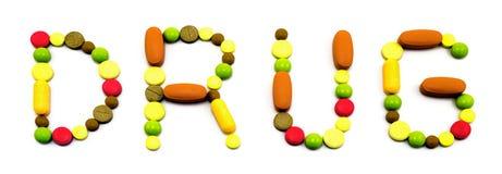 Esprima la droga fatta dalle compresse isolate su bianco immagine stock libera da diritti